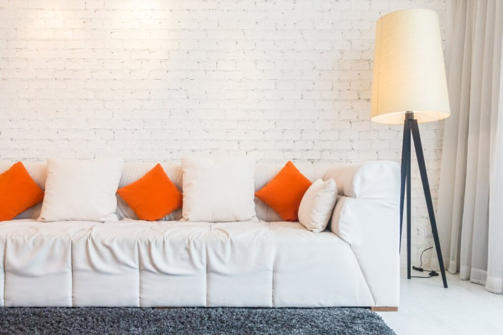 White Sofa with bright lamp